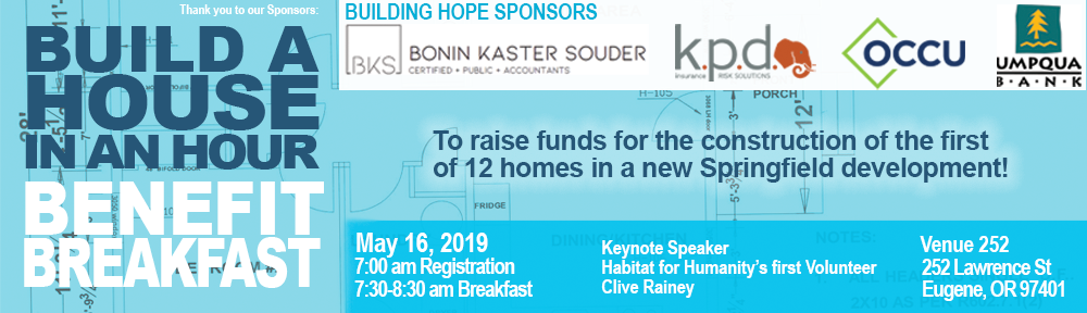 Thank you Bonin Kaster Souder, KPD Insurance, Oregon Community Credit Union, Umqua Bank for your Building Hope Sponsorship at our Benefit Breakfast 2019